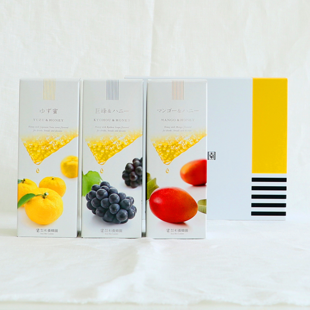 Fruit Juice Infused Honey 500g ×3 bottles Gift (Yuzu, Kyohou, Mango)
