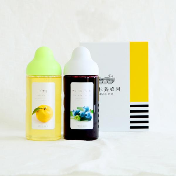 Fruit Juice Infused Honey 500g ×2 bottles Gift (Yuzu, Blueberry)