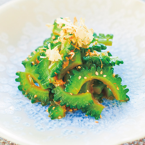 Bitter melon and bonito flakes with honey dressing